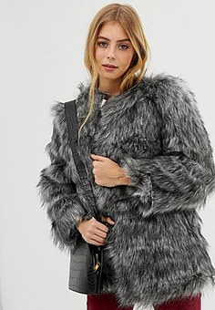 Raga Kora faux fur coat-Grey