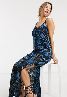 Raga Ocean Song floral print sleeveless maxi dress-Black