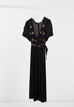 Raga Touch Of Gold embroidered wrap dress-Black