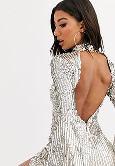 Rare London flare sleeve sequin dress with cut out back detail-Silver