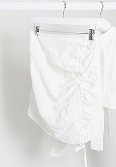 Rare London ruched mini skirt co ord in white