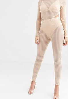Rare London sheer ribbed legging with knicker in beige