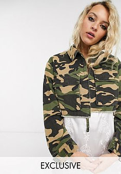 Reclaimed Vintage inspired cropped shacket in camo with pocket detail-Multi