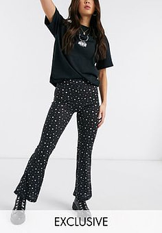 Reclaimed Vintage inspired flare trousers in spot print-Black