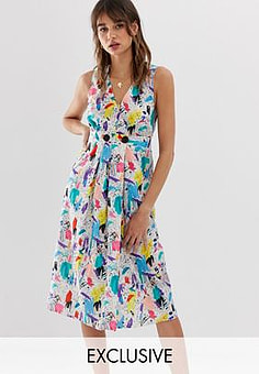 Reclaimed Vintage inspired midi dress with wrap button front in brush stroke print-Multi
