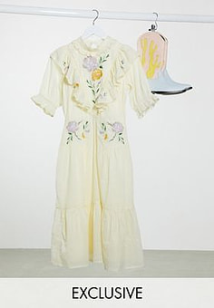 Reclaimed Vintage inspired midi high neck dress with embroidery-White