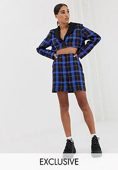 Reclaimed Vintage inspired mini skirt co-ord in bold check-Blue
