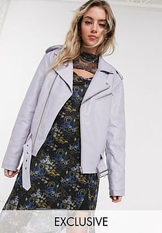 Reclaimed Vintage inspired PU biker jacket-Purple