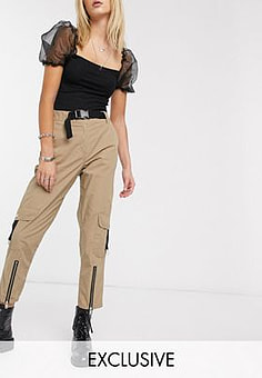 Reclaimed Vintage inspired utility trousers with buckle detail in biscuit-Beige