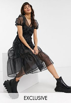 Reclaimed Vintage inspired wrap dress with volume sleeve in organza-Black