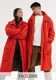 Reclaimed Vintage Unisex long puffer jacket-Orange