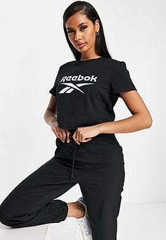 Reebok large logo cropped t-shirt in black