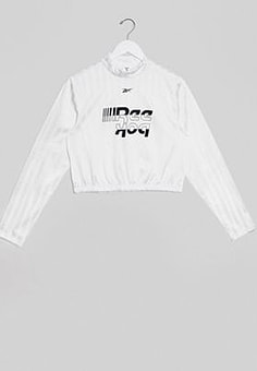 Reebok Training cropped long sleeve top with logo-White