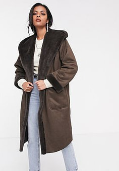 Religion longline hooded shearling coat-Brown