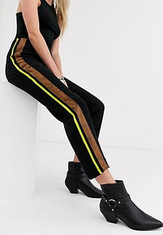 Religion relaxed trousers with contrast side stripe-Black