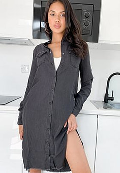 Replay Black Denim Midi Shirt Dress-Grey