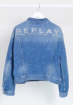 Replay cropped jacket in light blue