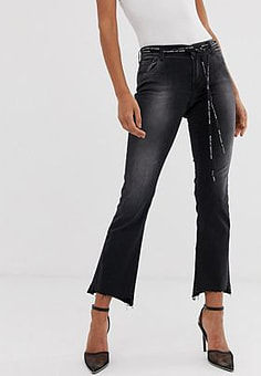 Replay high rise cropped jeans with stepped hem and logo woven belt-Blue