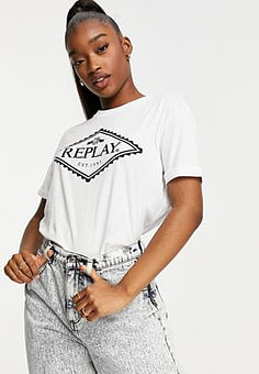 Replay Logo T-shirt in White