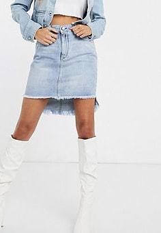 Replay washed denim skirt with stepped frayed hem-Blue