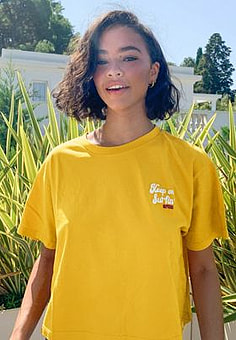 Rip Curl  Keep on surfin crop t-shirt in yellow