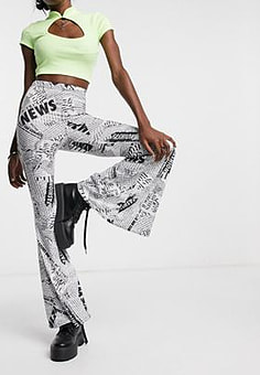 Rokoko flared trousers in newspaper print co-ord-Multi