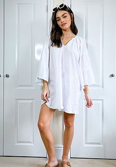Seafolly white tiered sleeve cover up