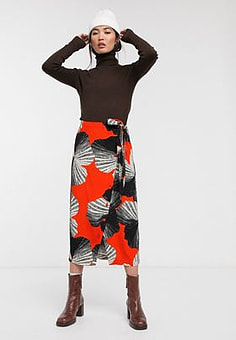 Selected Femme abstract print midi skirt with asymetric wrap-Orange