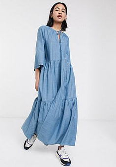 Selected Femme chambray tiered maxi dress in blue