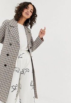Selected Femme check trench coat-Multi