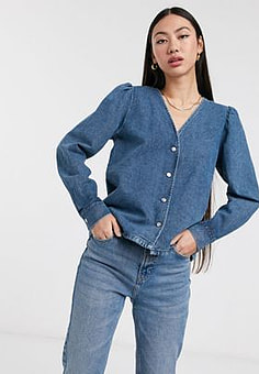 Selected Femme denim shirt with volume sleeve-Blue