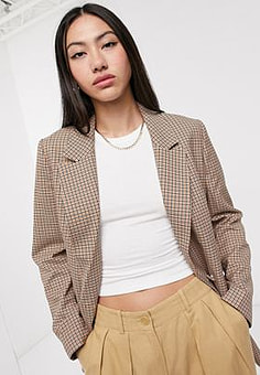 Selected Femme double breasted blazer in tan check-Multi