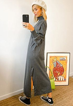 Selected Femme high neck jersey maxi dress in grey