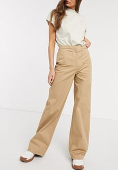 Selected Femme high waisted wideleg trouser with front pockets-Beige