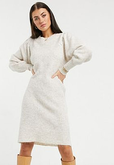 Selected Femme knitted dress with exaggerated sleeved in cream-Neutral