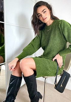 Selected Femme knitted dress with exaggerated sleeved in green-Neutral