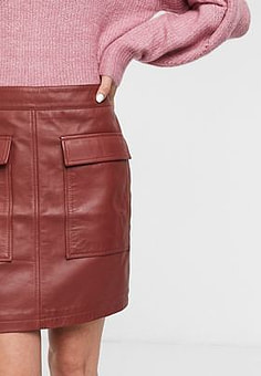 Selected Femme leather mini skirt with pocket detail in red