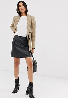 Selected Femme leather mini skirt with pockets in black