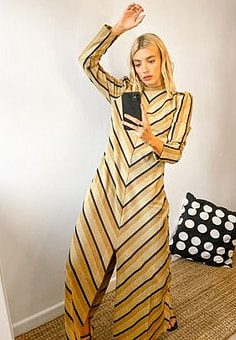 Selected Femme maxi dress with front split in golden chevron print-Multi