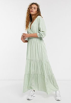 Selected Femme maxi smock dress in green and white stripe-Multi