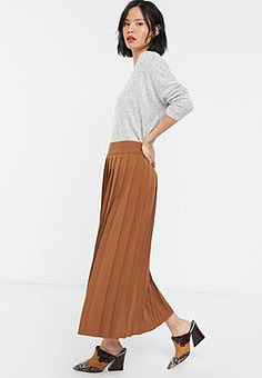 Selected Femme midi skirt with pleats in brown