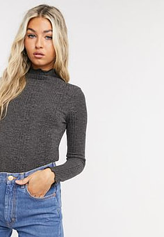 Selected Femme rib top with high neck in grey