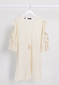 Selected Femme ruffle sleeve mini dress with tie waist in cream-White