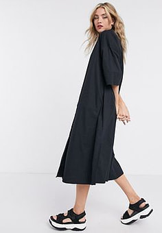 Selected Femme shirt dress with pleated back in black