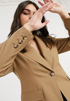 Selected Femme tailored blazer in tan-Brown