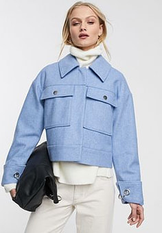 Selected Femme wool mix trucker jacket with pockets in blue