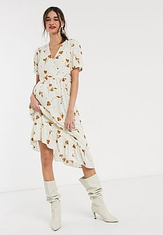 Selected Femme wrap dress in floral print-Multi
