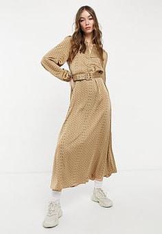 Selected Florenta silky volume sleeve maxi dress in gold-Brown