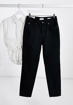 Selected Friday high waisted mom jeans in black