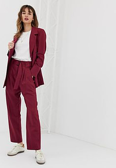 Selected Margot pleated tailored co-ord trouser in wool blend